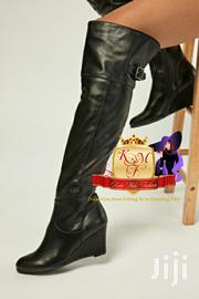 Black Faux Leather Slouchy Wedge Boots | Shoes for sale in Nairobi, Mugumo-Ini (Langata)